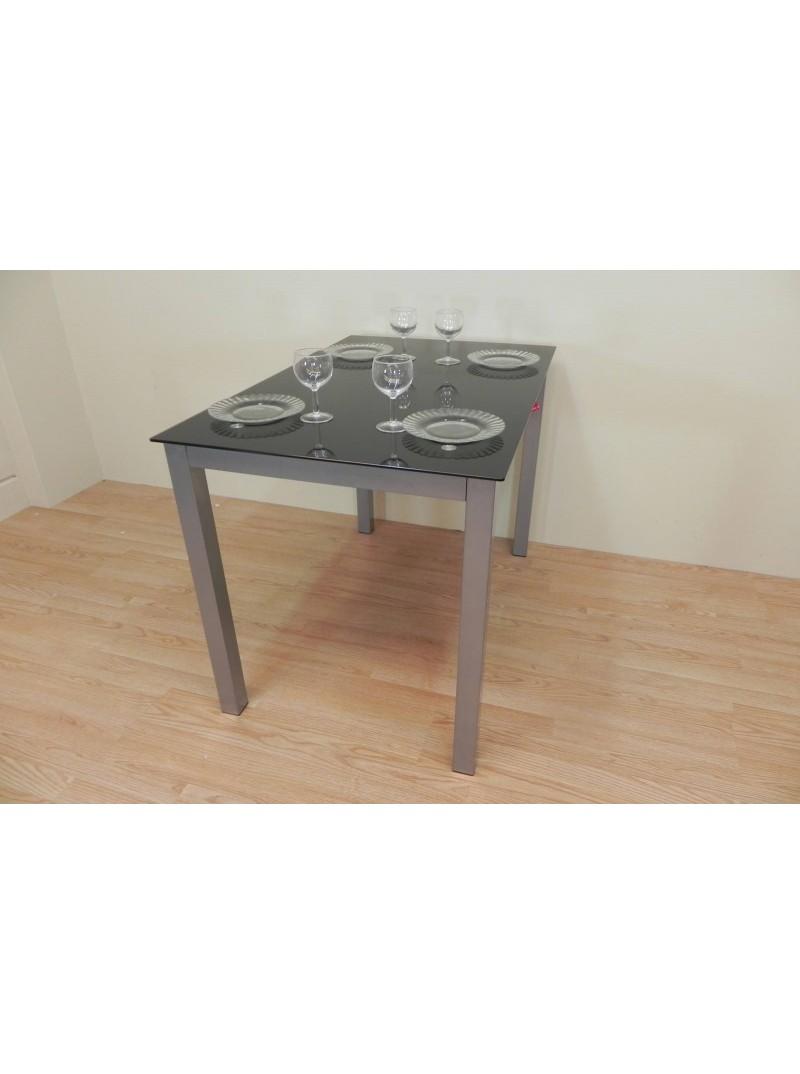 Mesa de cristal negra