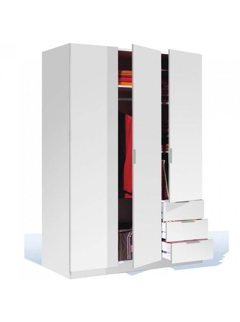 Armario 3 cajones 3 puertas blanco