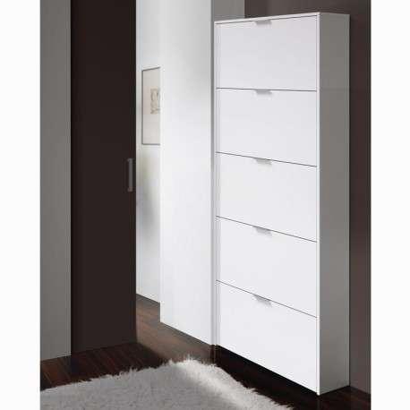 Zapatero blanco brillo alto 5 puertas