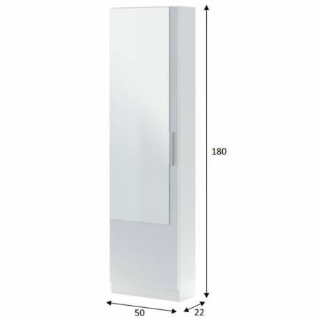 Zapatero con espejo alto color blanco
