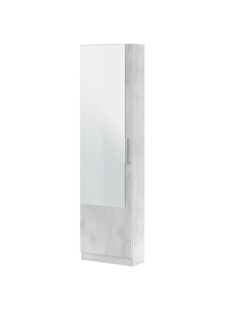 Zapatero con espejo alto cemento