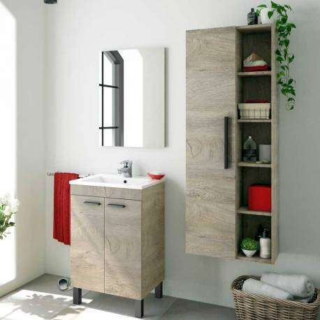 Columna baño 1 puerta y estantes roble