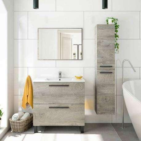 Mueble baño Athena y espejo roble
