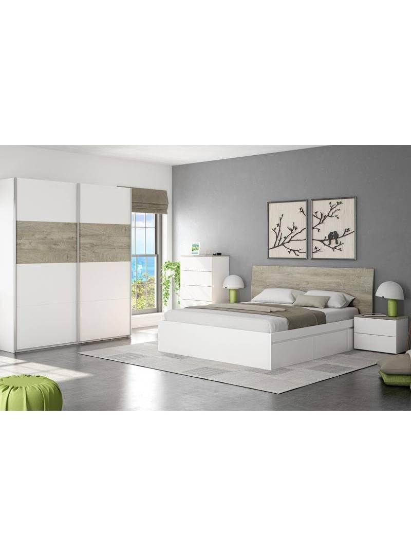 Cabezal + 2 mesitas New Dreams blanco y roble camas