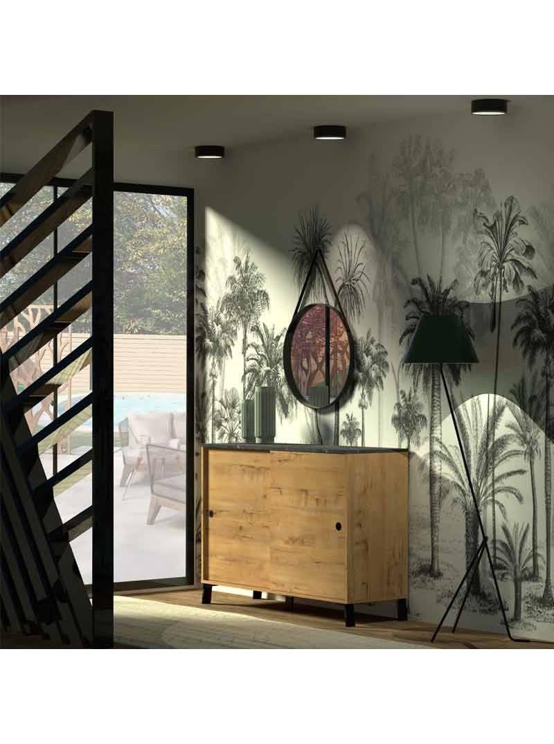 Aparador de salón Kamet color roble y marmol