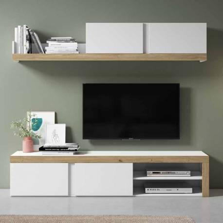 Mueble de salón Fly color blanco y natural