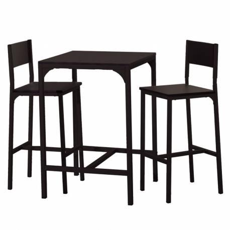 Pack mesa alta y 2 taburetes negro mate industrial