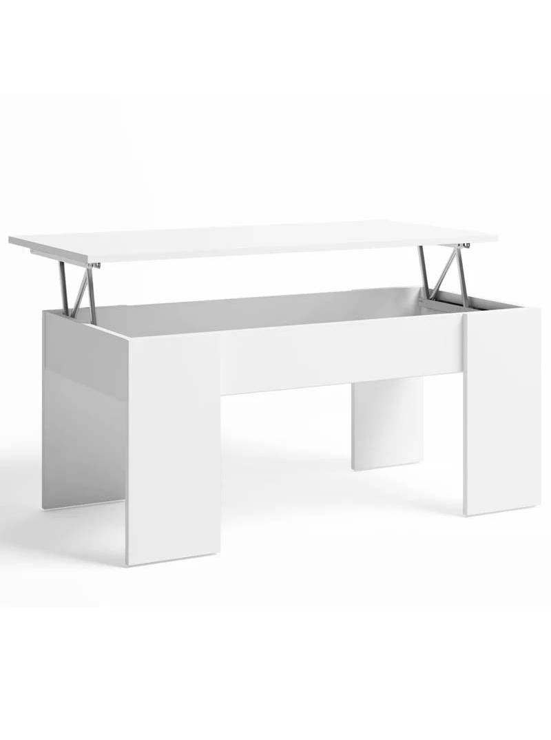 Mesa centro elevable Low color blanco mate