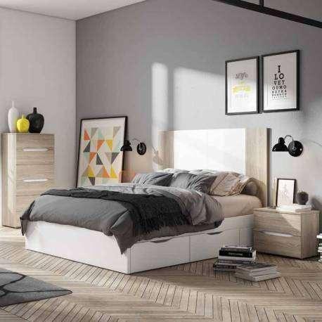 Cama matrimonio Lyon color blanco dormitorio