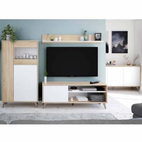 Mueble para TV Kikua Plus con estante roble y blanco salón