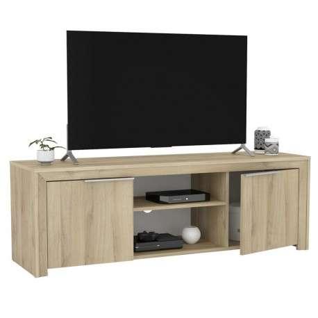 Mesa TV Olim 140 cm moderna 2 puertas 2 huecos
