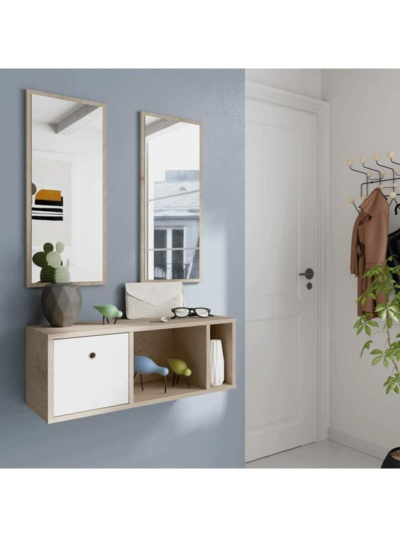 Mueble recibidor 2 espejos 70x28 cm