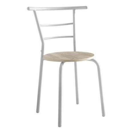 Conjunto mesa y 2 sillas blanco y roble
