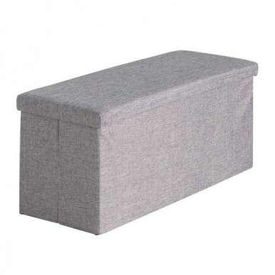 Puff con tapa rectangular gris