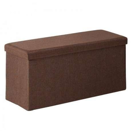 Pouf marrón rectangular con tapa