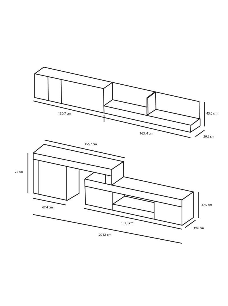 Mueble Módulos Salón Comedor Moderno Blanco y Pizarra