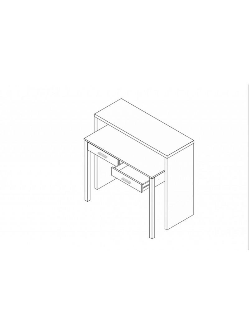Consola desplegable blanca 98x87 cm.