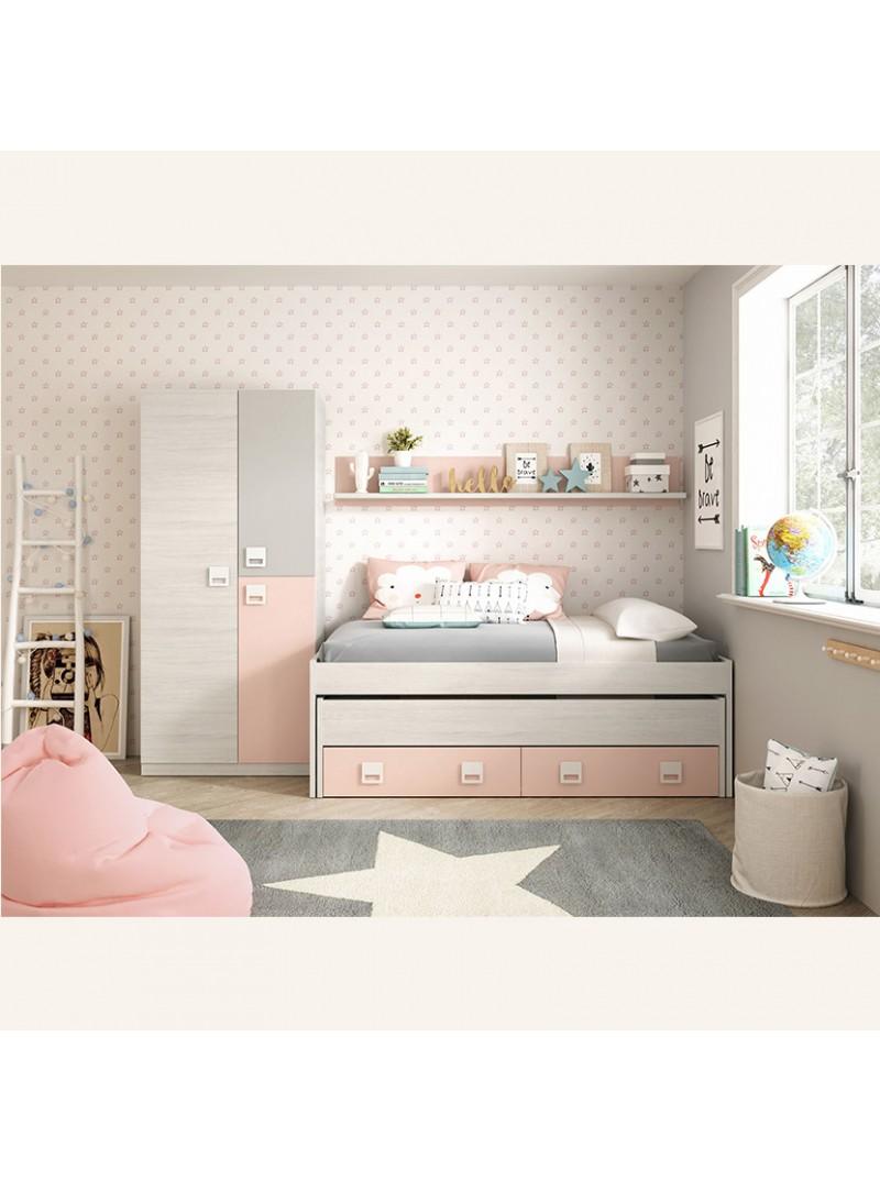 Cama nido + estanteria juvenil blanco y rosa