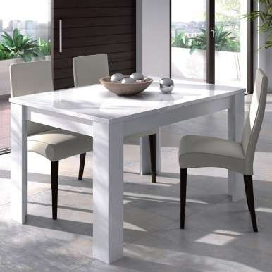 Mesa extensible blanco brillo