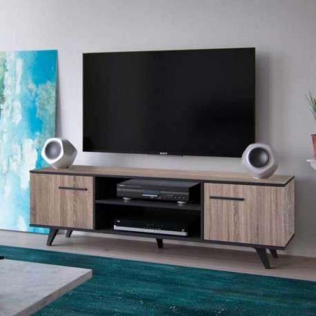 Mesa TV roble y negro